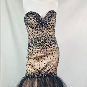 Mori Lee corset back fit flare dress Black gold 10